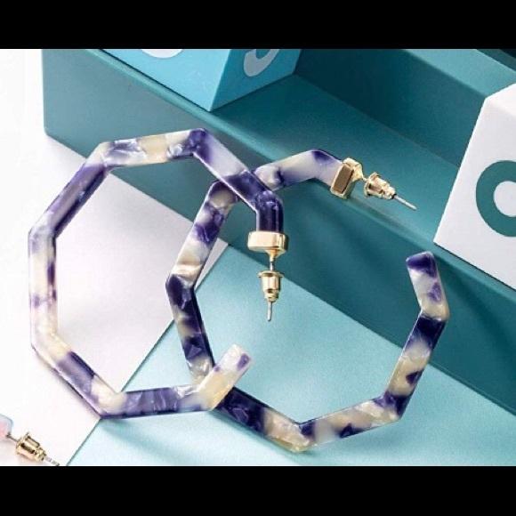 Jewelry - Navy and white resin hoop  earrings